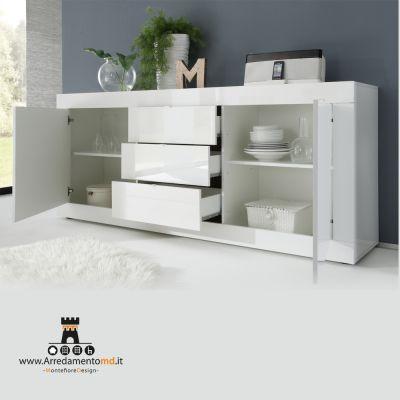Montefioredesign Madia linea Basic con 2 ante e 3 cassetti in finitura Bianco laccato lucido