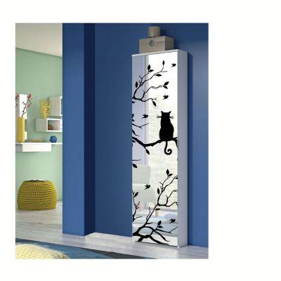 Montefioredesign Scarpiera Fari 1 anta  battente a specchio  in finitura Bianco con anta decorata