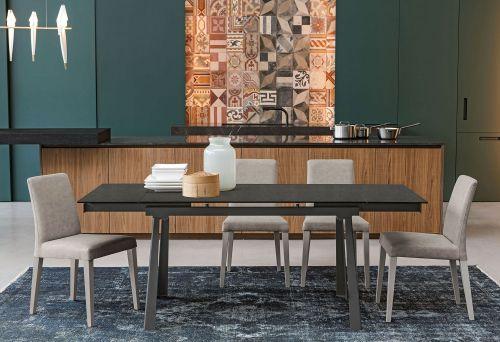 Tavolo allungabile Ponente piano in  vetro finitura Grafite L. 130