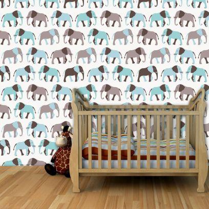 Carta da parati Baby collection Elefanti celesti