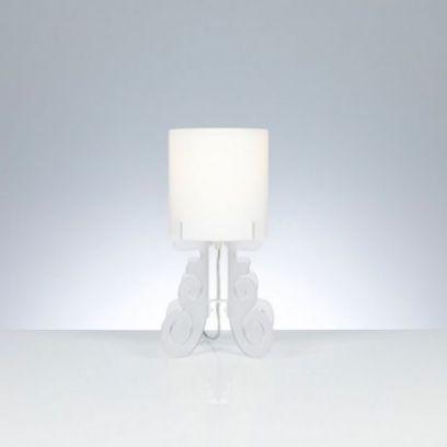 Lampada da tavolo Truciolo in Bianco satinato H 36