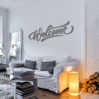 Scritta in legno sbiancato grigio, Welcome L 1,2m