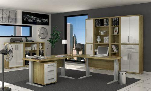Ufficio completo in finitura Rovere Bordeaux e Bianco Laccato