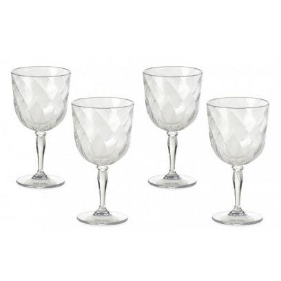 Set 4 bicchieri da Vino Diamond omada trasparente