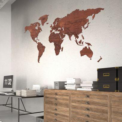Planisfero da parete 1,5 metri effetto corten con confini neri