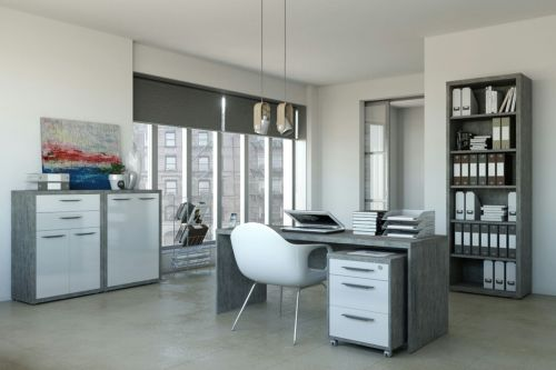 Ufficio completo in finitura Cemento e Bianco Laccato III