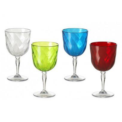 Set 4 bicchieri da Vino Diamond omada assortiti