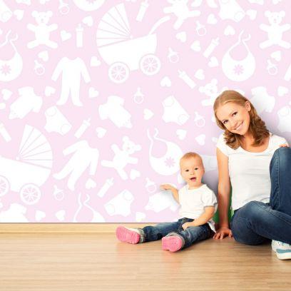 Carta da parati baby toys rosa