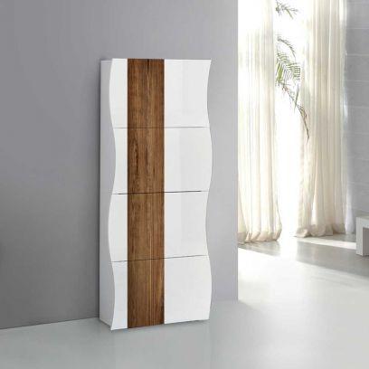 Scarpiera linea Mia 4 ante con serigrafia wood