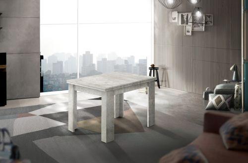 Tavolo raddoppiabile a libro 90x90 finitura Cemento Bianco