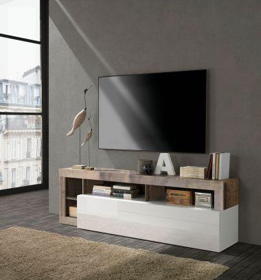 Porta Tv linea Frame in Bianco Lucido e Pero