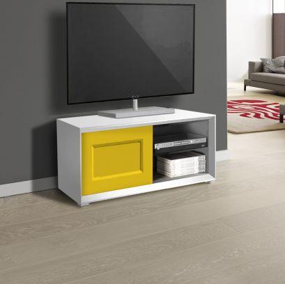 Porta Tv 1 anta e 2 vani a giorno linea Tilt CLASSIC in finitura Bianco opaco e giallo
