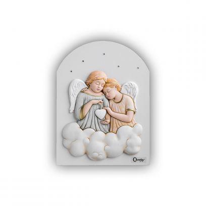Scultura altorilievo Angeli su tavola in legno a cupola