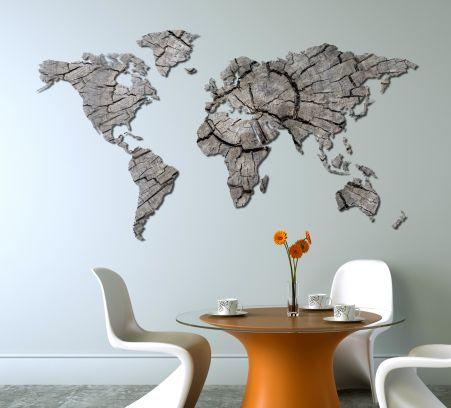 Planisfero da parete 2 metri - legno grigio