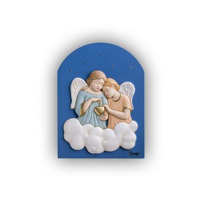 Scultura altorilievo Angeli su tavola in legno a cupola blu