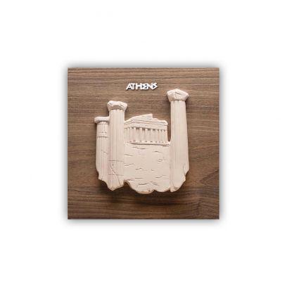 Scultura altorilievo Atene su tavola in legno