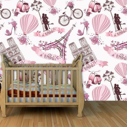 Carta da parati Baby collection Paris rosa