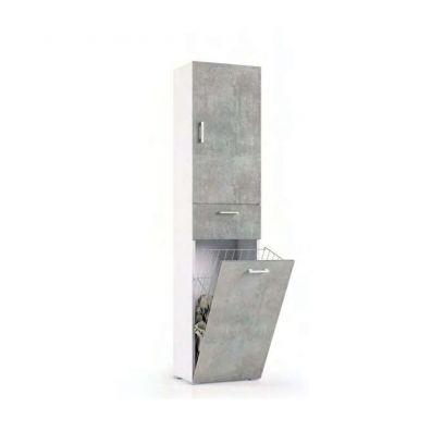 Mobile multiuso con cestello porta biancheria finitura Bianco Frassino e cemento