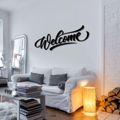 Scritta in legno nero, Welcome L 1,2m