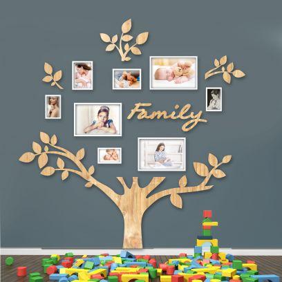 Quadro foto di Famiglia ALBERO della vita legno naturale
