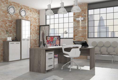 Ufficio completo in finitura Rovere Tartufo e Bianco Laccato II