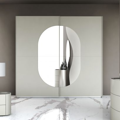 Armadio scorrevole Round laccato tele opaco con specchio