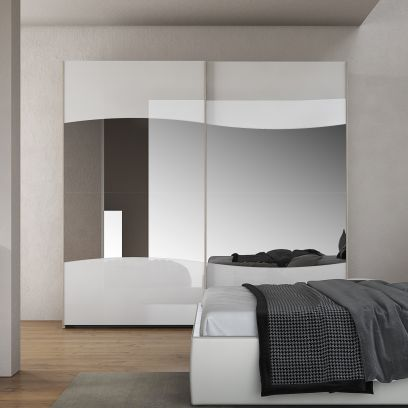 Armadio scorrevole Lory Bianco laccato opaco e specchio