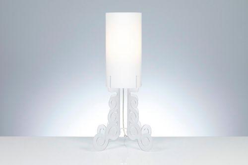 Lampada da tavolo Truciolo in Bianco satinato H 60