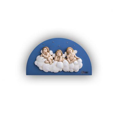 Scultura altorilievo Angeli su tavola in legno a lunetta blu