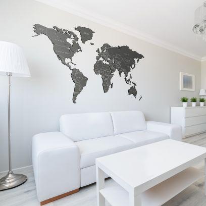 Planisfero da parete 1,5 metri grigio con scritte
