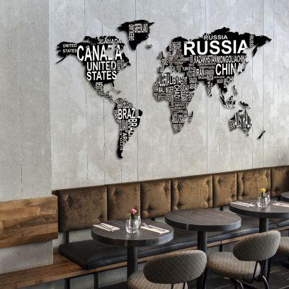 Planisfero da parete 1,5 metri nero scritte bianche