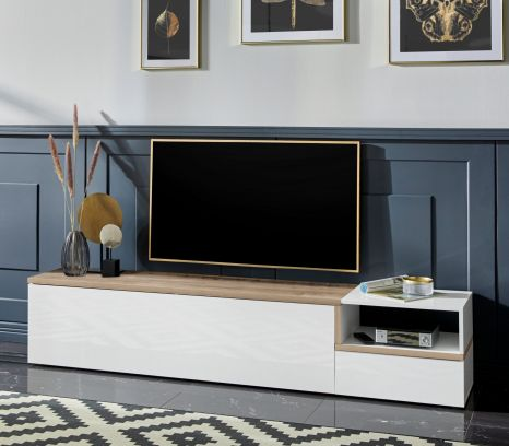 Porta Tv 2  ribalte linea Zeta in Bianco lucido e Pero L.200