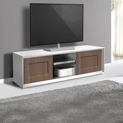 Porta Tv 2 ante e 2 vani a giorno linea Tilt CLASSIC in finitura Bianco opaco e noce