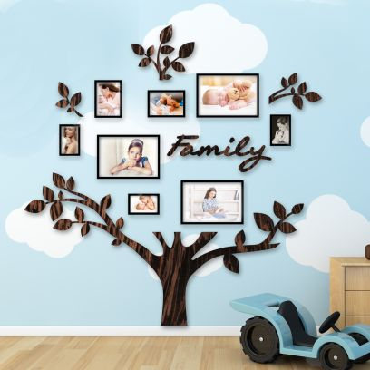 Quadro foto di Famiglia ALBERO della vita legno wenge