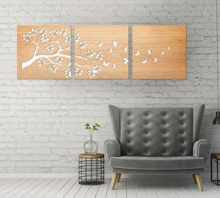 Trittico a doppio pannello floreale, legno chiaro