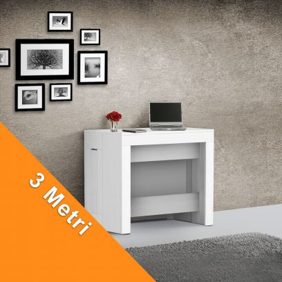 Consolle Inside 3 mt con Allunghe incorporate Bianco Frassino