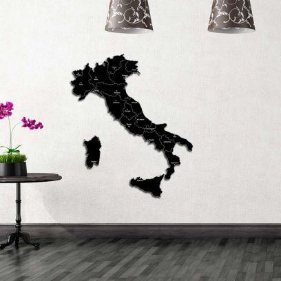 Quadro mappa Italia in legno colore nero opaco