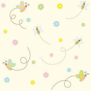 Carta da parati Baby collection con Api colorate