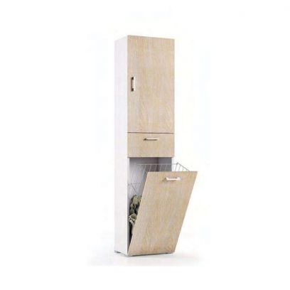 Mobile multiuso con cestello porta biancheria finitura Bianco Frassino e Rovere