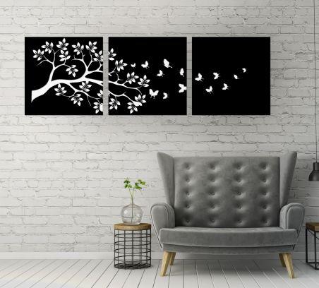 Trittico a doppio pannello floreale, legno nero