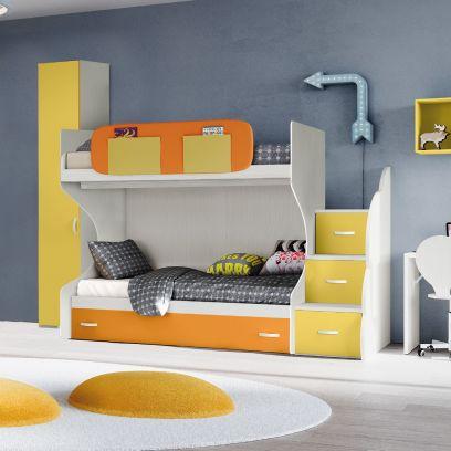 Cameretta Mix a soppalco con 3 letti , frassino nuvola arancio e giallo