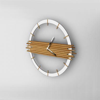 Orologio da parete URBAN bianco / rovere