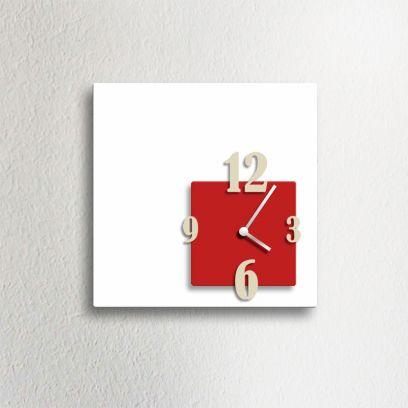 Orologio da parete CUBIK, bianco e rosso