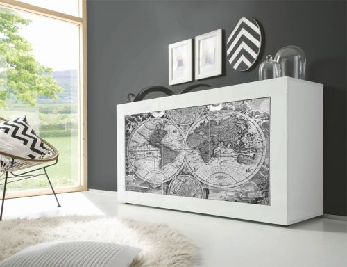 Madia Vintage Map 2 Linea Fancy finitura Bianco lucido con Serigrafia