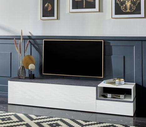 Porta Tv 2  ribalte linea Zeta in Bianco lucido e Ardesia L.200