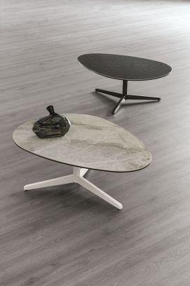 Tavolino Elica L struttura Bianca e piano  Arabescato