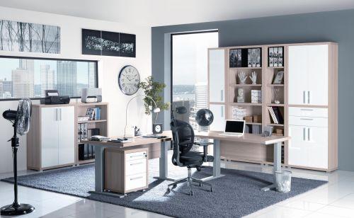 Ufficio completo in finitura Frassino Coihmbra  e Bianco Laccato