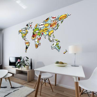 Planisfero da parete 1,5 metri pop art