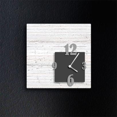 Orologio da parete CUBIK, legno sbiancato e antracite