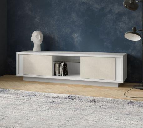 Porta tv SKYLINE 2 ante laccato bianco opaco e calce
